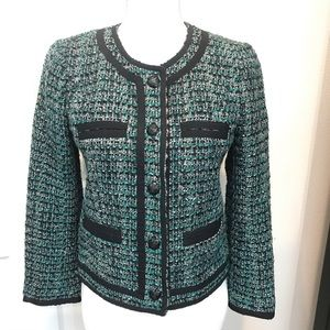 J Crew Wool Blend Boucle Jacket Teal/Black Sz 4